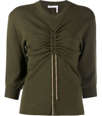 chloé drawstring detail wool knit top - green