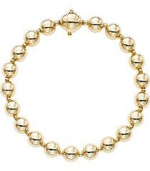 14k yellow gold polished bead single strand bracelet