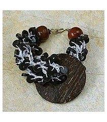 coconut shell and bull horn beaded bracelet, 'zebra' (ghana)