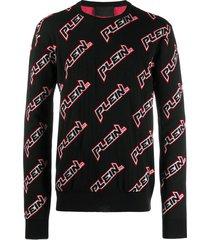 philipp plein logo print pullover - black
