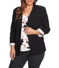 plus size women's 1.state classic crepe blazer, size 24w - black