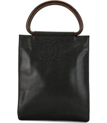 chanel pre-owned 2001 wooden handles cc tote - black