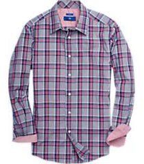 egara navy & raspberry plaid sport shirt