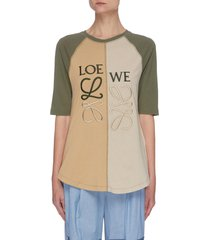 asymmetric embroidered anagram t-shirt
