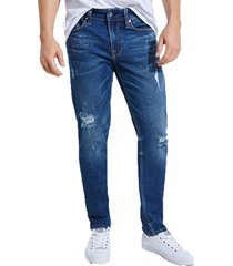 jeans slim tapered azul guess