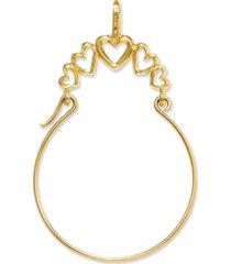 14k gold charm holder, polished 5-heart charm holder