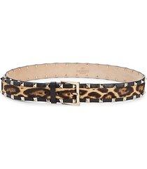 studded cow hair & leather belt