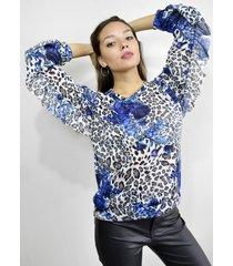 sweater azul a lo juana zoe volados