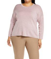plus size women's eileen fisher boxy merino tunic sweater, size 2x - purple