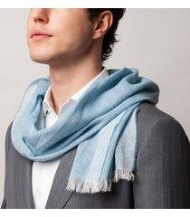 sciarpa da uomo, maalbi, cashmere lino azzurra, primavera estate | lanieri