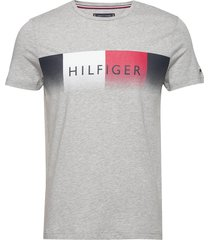 th cool hilfiger fade tee t-shirts short-sleeved grå tommy hilfiger