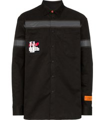 heron preston reflective tape work shirt - black