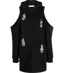 area crystal-embellished jumper dress - black