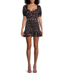 for love & lemons women's camellia smocked belted mini dress - black - size s