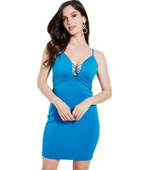 vestido sl jaiden scuba dress azul guess