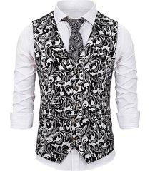 gilding totem print single breasted business vest