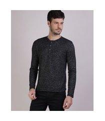 suéter de tricô masculino gola portuguesa cinza mescla escuro