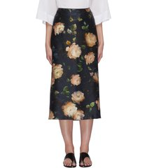 painted rose print midi silk slip skirt