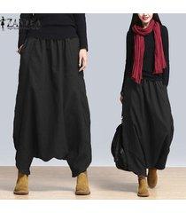 zanzea plus s-5xl verano de las mujeres de gran tamaño de cintura alta harem pantalones holgados pantalones cruzados pantalones casuales de la danza de hip-hop suelta pantalones negro -negro
