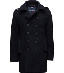classic bridge coat wollen jas lange jas blauw superdry