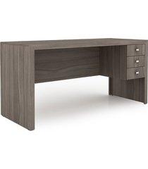 mesa para escritório com 3 gav. me 4113 carvalho tecno mobili marrom
