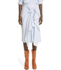 dries van noten sabra stripe asymmetrical drape poplin skirt, size 10 us in 1 white at nordstrom