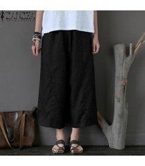 zanzea pantalones capri de pierna ancha para mujer culottes pantalones de algodón de talla grande -negro