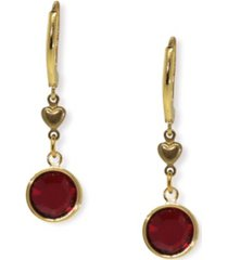 2028 gold-tone red channel crystal drop earring