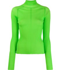 acne studios ribbed polo neck sweater - green