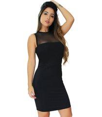 vestido racy modas curto com tule no busto preto