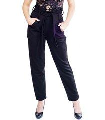 pantalon flor negro natalia seguel