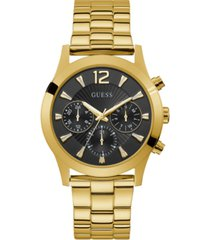 guess unisex gold-tone and black multi-function watch, 36mm
