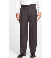 men's berle self sizer waist pleated classic fit dress pants, size 33 x unhemmed - black