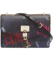 dkny elissa leather graffiti large logo shoulder bag, created for macy's