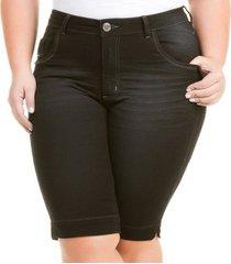 bermuda confidencial extra plus size jeans com elastano feminino