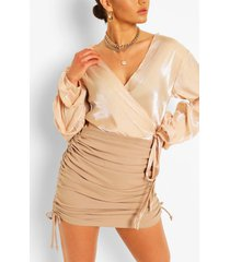 metallic puff sleeve wrap blouse, champagne