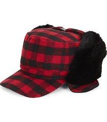 faux fur trimmed check fudd hat