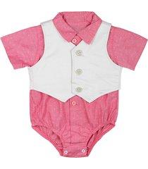 body camisa manga curta de bebê goiaba com colete 2pcs cute goiaba era uma vez