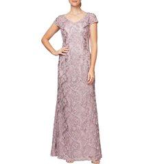 women's alex evenings v-neck soutache trumpet gown