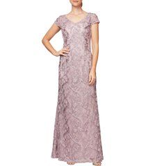 women's alex evenings v-neck soutache trumpet gown, size 4 - pink