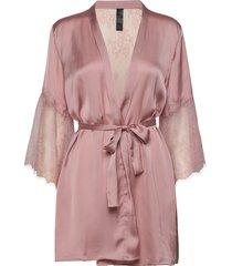 kimono satin lily morgonrock rosa hunkemöller