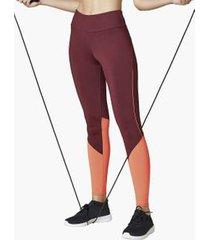 calça legging com bolso traseiro color block vermelho p