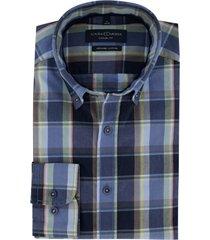 casa moda overhemd donkerblauw geruit casual fit