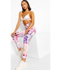tie dye high waist leggings, lilac