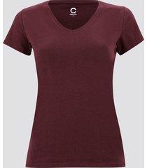t-shirt i bomull med v-ringning - vinröd