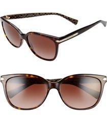 women's coach 57mm retro sunglasses - dark tortoise/ brown gradient