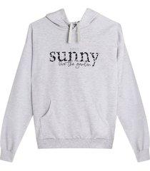 buzo hoodie sunny color gris, talla l