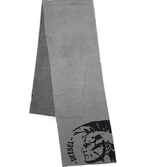 intarsia-knit logo scarf