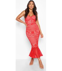 mesh floral cupped peplum midi dress, red