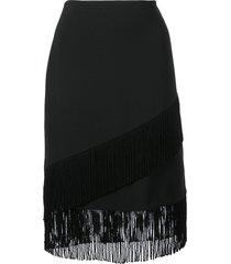 josie natori fringed crepe pencil skirt - black